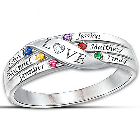Women's Ring: Love Holds Our Family Together Personalized Diamond Ring – Personalized Jewelry