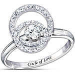 Sterling Silver Circle Of Love Spinning White Topaz Ring