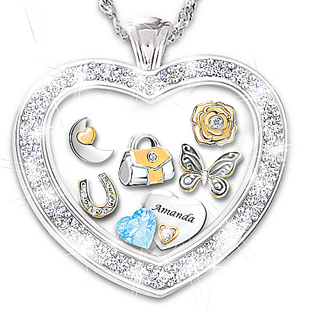 Collectible Charms Personalized Pendant Necklace With Presentation Case