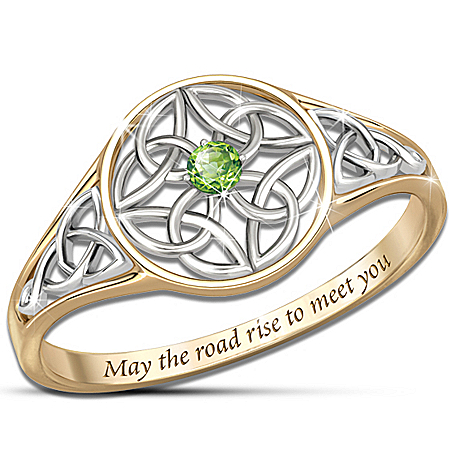 Celtic Beauty Genuine Peridot Women's Ring