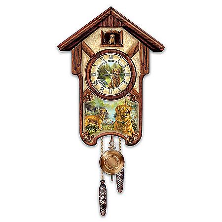 Cuckoo Clock: Gentle Golden Retrievers Cuckoo Clock