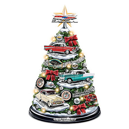 Chevrolet Bel Air Tabletop Christmas Tree With Revving Engine Sound: Lights Up