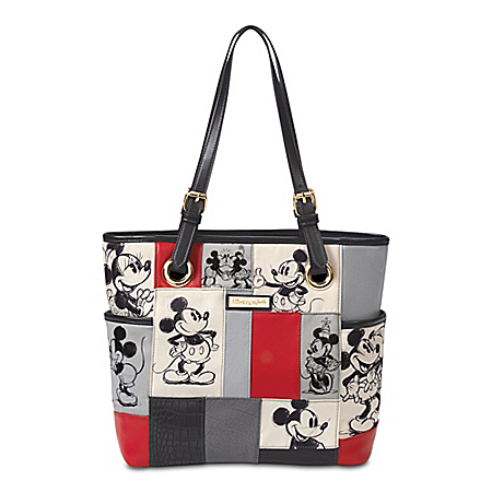 Disney Patches Of Love Women's Patchwork Handbag Featuring Mickey Mouse And Minnie Mouse