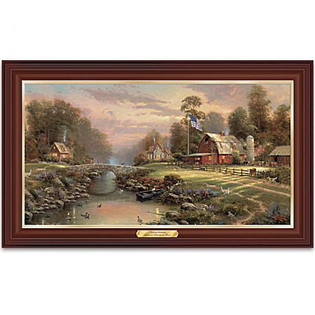 Thomas Kinkade Sunset At Riverbend Farm Illuminated Canvas Print Wall Decor