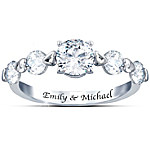 Romance Personalized Sterling Silver Ring With Five White Topaz