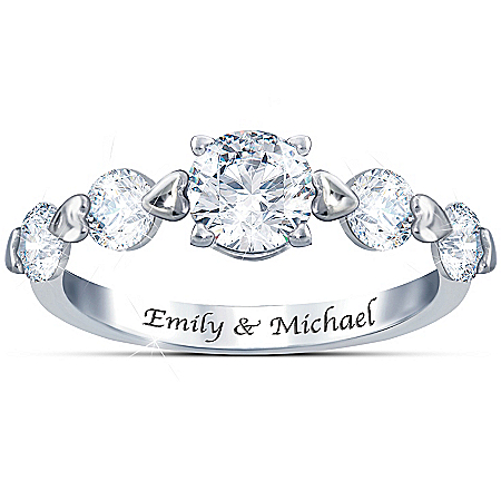 Romance Personalized Sterling Silver Ring With Five White Topaz – Personalized Jewelry