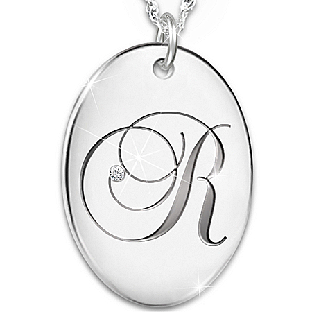 Necklace: Precious Daughter Personalized Genuine Diamond Initial Pendant Necklace