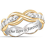 18K Gold-Plated Love Is Forever Ring With White Sapphires