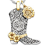 Necklace - Country Rose Boot Pendant Necklace