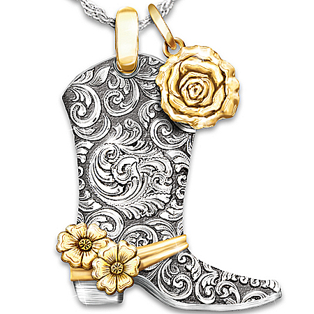 Necklace: Country Rose Boot Pendant Necklace