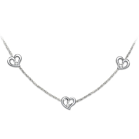 Today, Tomorrow, Always Diamond Heart Shaped Women's Sterling Silver Necklace