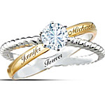 Handcrafted Everlasting Love Personalized Ring With White Topaz