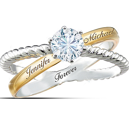 Handcrafted Everlasting Love Personalized Ring With White Topaz – Personalized Jewelry
