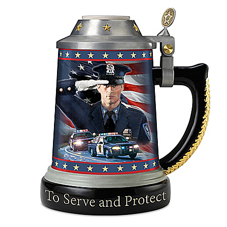 Stein: Code Of Honor Heirloom Porcelain Policeman's Stein