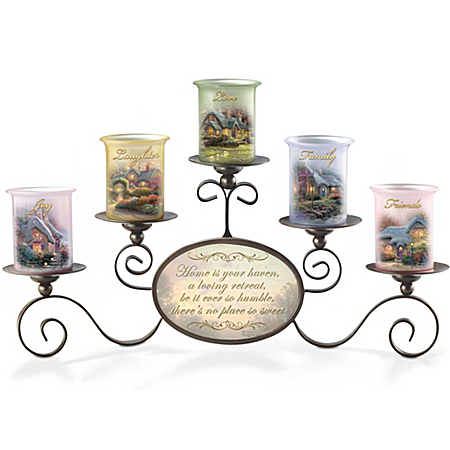 Candleholders: Thomas Kinkade Warmth Of Home Candleholder Set