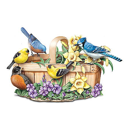 Springtime Serenade Lifelike Songbird Touch-Activated Sculpture