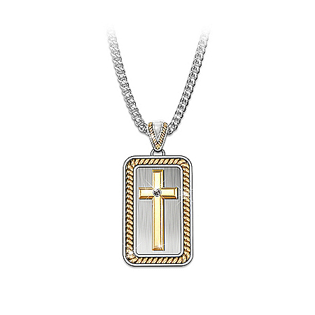 Necklace: Strength In God Men's Cross Pendant Necklace