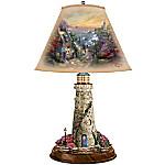 Thomas Kinkade Lamp With The Village Lighthouse Artwork On Shade And Lighthouse Base