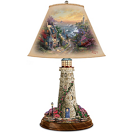 Thomas Kinkade Lamp With The Village Lighthouse Artwork On Shade And Lighthouse Base
