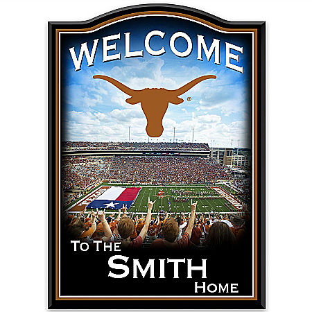 Texas Longhorns Personalized Welcome Sign With Team Logo