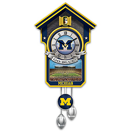 Michigan Wolverines Handcrafted Cuckoo Clock With Sound