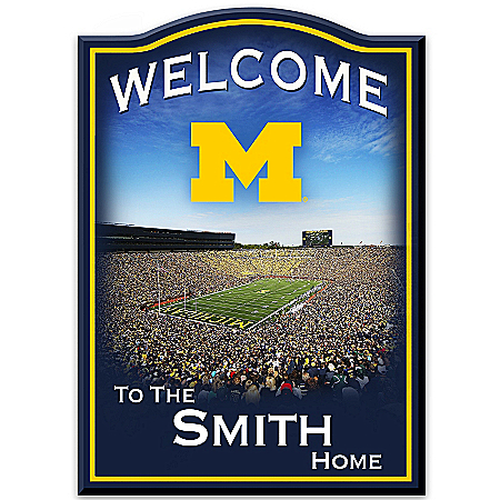 University Of Michigan Wolverines Personalized Wooden Welcome Sign Featuring Michigan Stadium