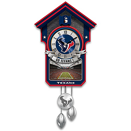 NFL-Licensed Houston Texans Football Wall Cuckoo Clock