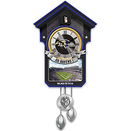 NFL-Licensed Baltimore Ravens Cuckoo Clock Featuring Bird With Helmet