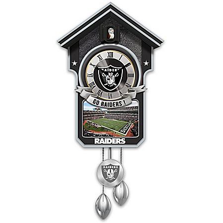 NFL-Licensed Las Vegas Raiders Cuckoo Clock Featuring Bird With Helmet
