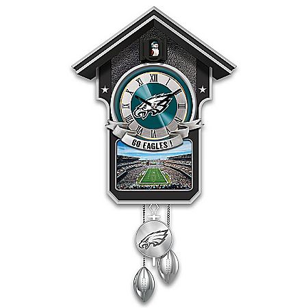 NFL-Licensed Philadelphia Eagles Cuckoo Clock Featuring Bird With Helmet
