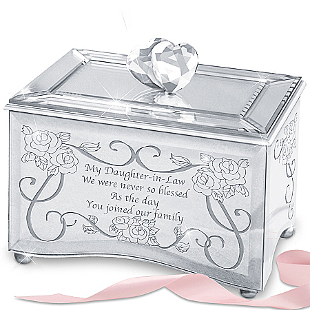 My Daughter-In-Law, I Love You Mirrored Music Box With Heart Topper Plays You Are So Beautiful
