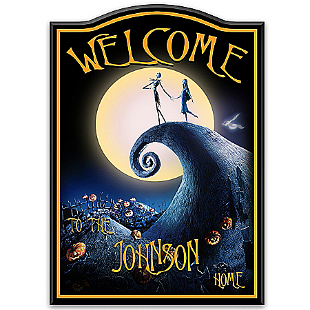 The Nightmare Before Christmas Glow-In-The-Dark Personalized Welcome Sign