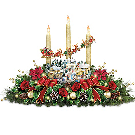 Thomas Kinkade The Lights Of Christmas Illuminating Village Table Centerpiece