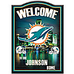Welcome Sign - Miami Dolphins Personalized Welcome Sign