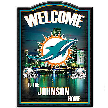Welcome Sign: Miami Dolphins Personalized Welcome Sign