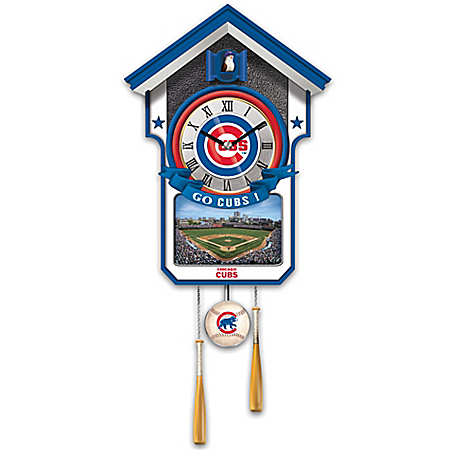 Officially Licensed Chicago Cubs Baseball Cuckoo Clock