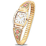 The American Rose Floral Women's Watch With Mother Of Pearl Face