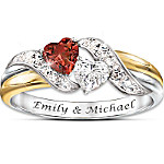 Hearts Of Love Red Garnet And White Topaz Personalized Embrace Women's Ring
