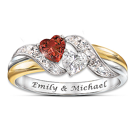 Hearts Of Love Red Garnet And White Topaz Personalized Embrace Women's Ring – Personalized Jewelry