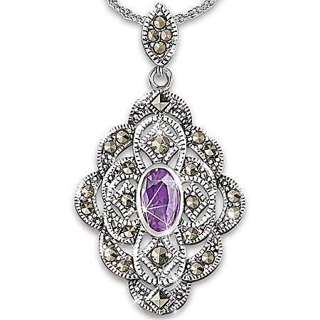 The Heiress Amethyst Women's Pendant Necklace Jewelry Inspired By Downton Abbey