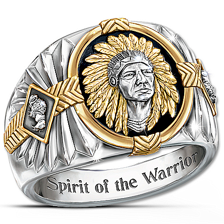 Spirit Of The Warrior Men's Native American Inspired Onyx And Steel Ring
