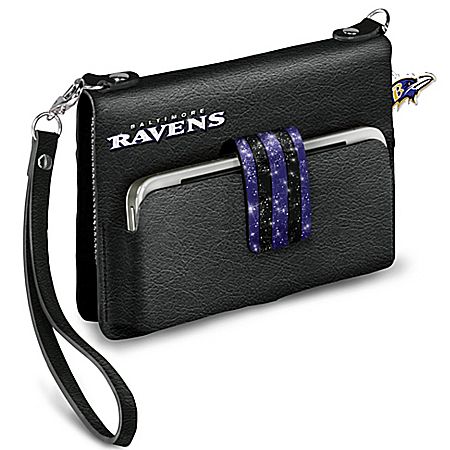 NFL-Licensed Baltimore Ravens Charm City Chic Mini Handbag With Glittering Team Colors