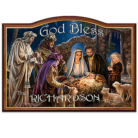 """Dona Gelsinger """"God Bless Our Home"""" Nativity Art Personalized Welcome Sign"""