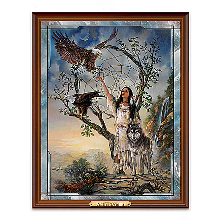 Russ Docken Native Dreams Illuminated Stained Glass Panoramic Wall Decor