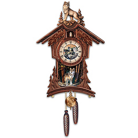 Sentinels Of The Forest Wildlife Wooden Cuckoo Clock