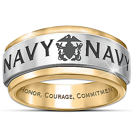 Ring: Navy Honor Men's Spinning Ring