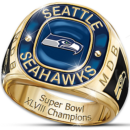 Ring: Seattle Seahawks Super Bowl Champions Commemorative Fan Personalized Ring