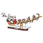 Rudolph's Christmas Journey Santa Claus Reindeer Sleigh Musical Sculpture
