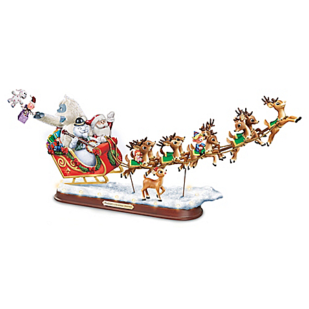 Rudolph's Christmas Journey Santa Claus Reindeer Sleigh Musical Sculpture