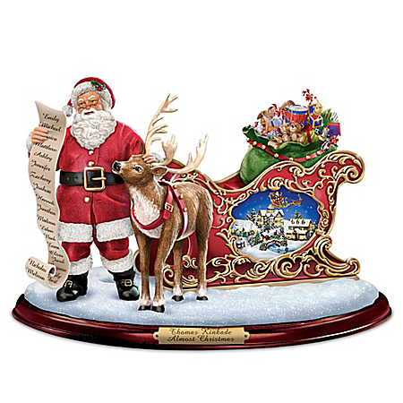 Thomas Kinkade Almost Christmas Santa Claus Figurine With Lights Music And Motion